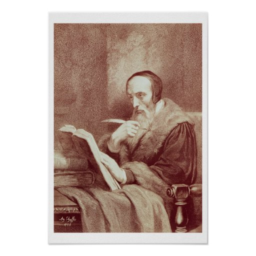 Portrait of John Calvin (1509-1564) (engraving) Poster