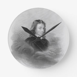 Portrait of John Milton (1608-74) engraved by the Wall Clock