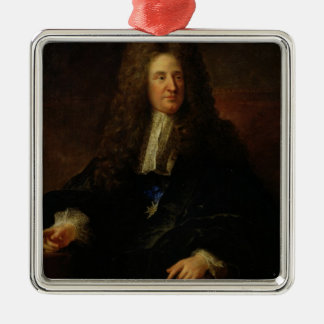 Portrait of Jules Hardouin Mansart Silver-Colored Square Ornament