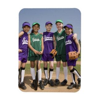 Portrait of little league teams rectangular photo magnet