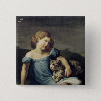 Portrait of Louise Vernet as a Child, 1818-19 2 Inch Square Button