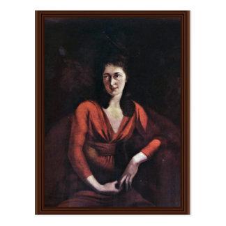 Portrait Of Magdalena Hess Of Zurich By Johann Hei Postcard