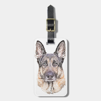 Portrait of Man's Best Friend German Shepherd Dog Bag Tag