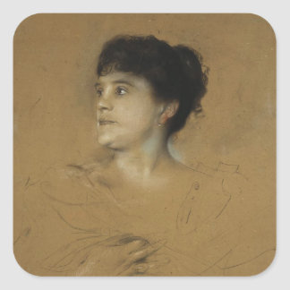 Portrait of Marcella Sembrich, 1891 Square Sticker