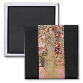 Portrait of Maria Munk by Gustav Klimt Square Magnet
