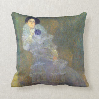 Portrait of Marie Henneberg  by Klimt Throw Pillow