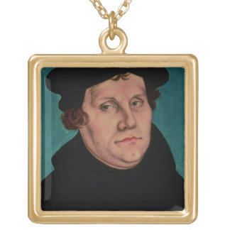 Portrait of Martin Luther, 1529 Gold Plated Necklace