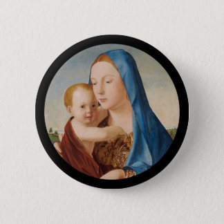 Portrait of Mary Holding  Baby Jesus 2 Inch Round Button