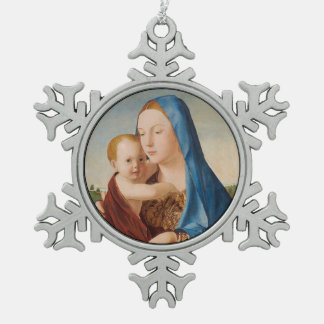 Portrait of Mary Holding  Baby Jesus Pewter Snowflake Ornament