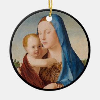 Portrait of Mary Holding  Baby Jesus Round Ceramic Ornament