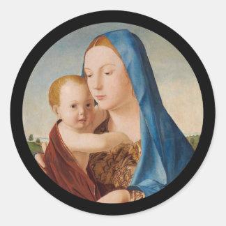 Portrait of Mary Holding  Baby Jesus Round Sticker