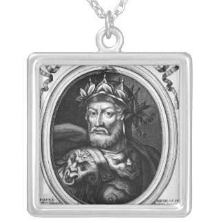 Portrait of Merovech  King of the Salian Franks Silver Plated Necklace