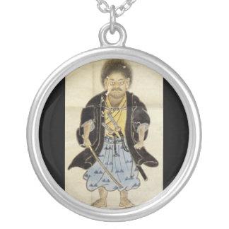 Portrait of Miyamoto Musashi as a Boy, Edo Period Round Pendant Necklace
