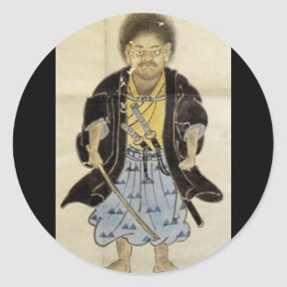 Portrait of Miyamoto Musashi as a boy, Edo Period Round Sticker
