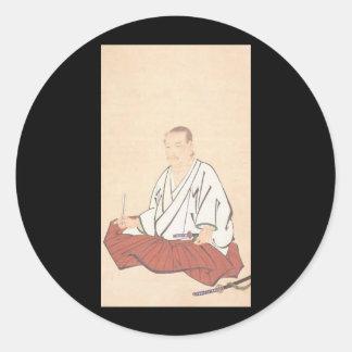 Portrait of Miyamoto Musashi, Edo Period Round Sticker