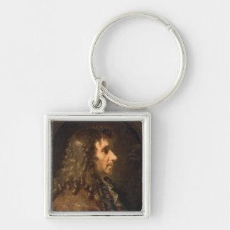 Portrait of Moliere  1660 Silver-Colored Square Keychain