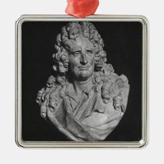Portrait of Nicolas Boileau Silver-Colored Square Ornament