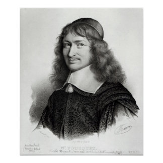 Portrait of Nicolas Fouquet  engraved by Maurin Poster