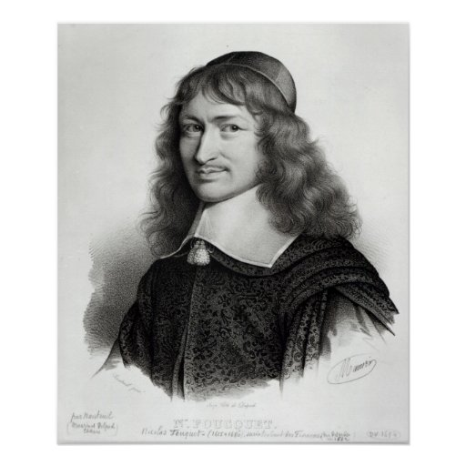 Portrait of Nicolas Fouquet  engraved by Maurin Posters