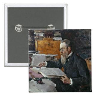Portrait of Nikolai Andreyevich Rimsky-Korsakov 2 Inch Square Button