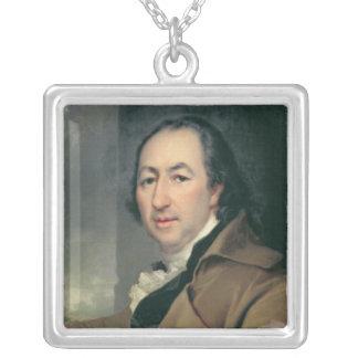 Portrait of Nikolai Ivanovich Novikov Silver Plated Necklace
