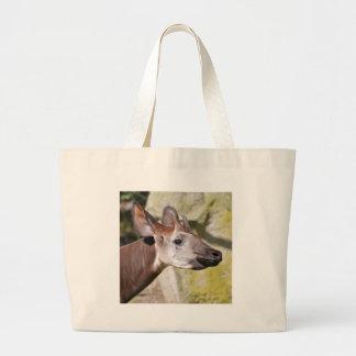 Portrait of okapi (Okapia johnstoni) Large Tote Bag