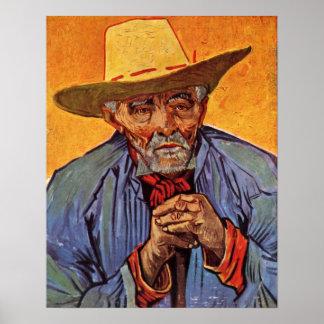 Portrait of old peasant by Vincent Willem van Gogh Poster