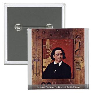 Portrait Of Pembauer Pianist JosephBy Klimt Gustav Button