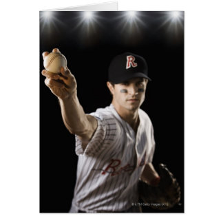 Portrait of pitcher throwing baseball card