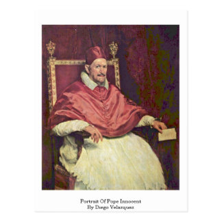 Portrait Of Pope Innocent By Diego Velazquez Postcard