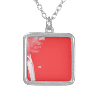Portrait of President Barack Obama 38c Silver Plated Necklace