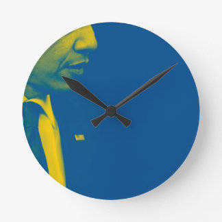 Portrait of President Barack Obama 38d Round Clock