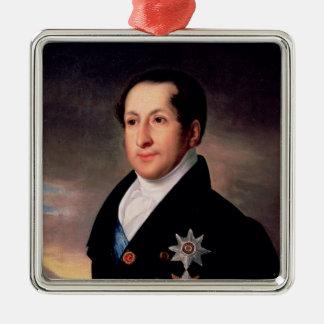 Portrait of Prince Sergej Golitsyn , post 1828 Silver-Colored Square Ornament