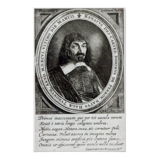 Portrait of Rene Descartes, 1644 Print