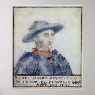 Portrait of Rene I  Duke of Anjou Poster