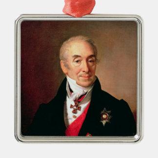 Portrait of S. Kushnikov, 1828 Silver-Colored Square Ornament