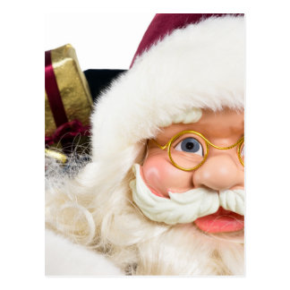 Portrait of Santa Claus face and presents Postcard