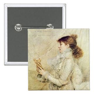 Portrait of Sarah Bernhardt 2 Inch Square Button