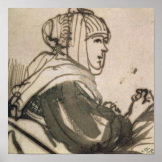 Portrait of Saskia, 1634 Poster
