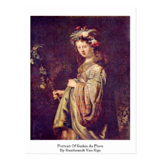 Portrait Of Saskia As Flora By Rembrandt Van Rijn Postcard