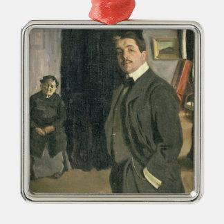 Portrait of Sergei Pavlovich Diaghilev Silver-Colored Square Ornament