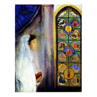 Portrait of Simone Fayet in Holy Communion Postcard