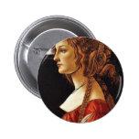 Portrait Of Simonetta Vespucci By Botticelli Sandr Pinback Button