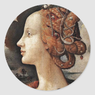 Portrait Of Simonetta Vespucci By Piero Di Cosimo Classic Round Sticker