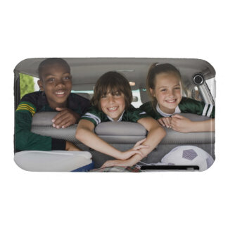 Portrait of smiling children in car iPhone 3 cases