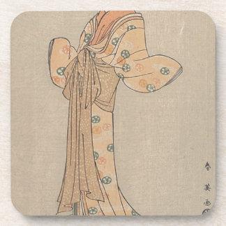 Portrait of the Actor Nakamura Yasio as an Oiran Coaster