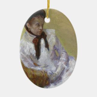 Portrait of the Artist - Mary Cassatt Ceramic Oval Ornament