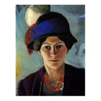 Portrait of the Artist's Wife by August Macke Postcard