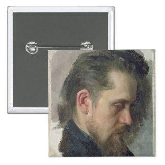 Portrait of the author Nikolay Pomyalovsky, 1860 2 Inch Square Button