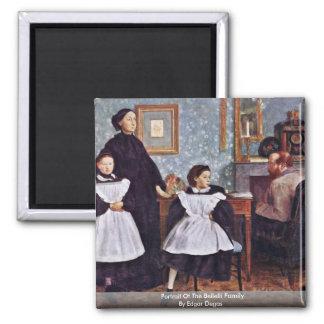 Portrait Of The Bellelli Family By Edgar Degas Square Magnet